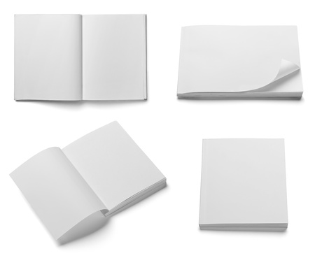 leaflet design: collection of various  blank white  books on white background  each one is shot separately Stock Photo