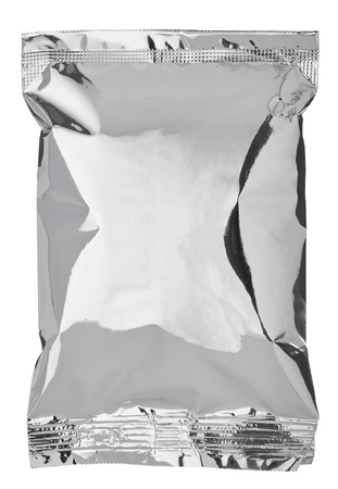silver foil: close up of an aluminum  bag on white background Stock Photo