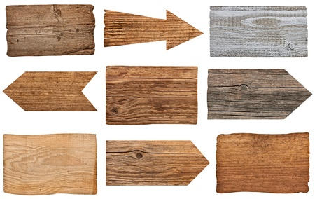 collection of various  empty wooden sign on white background  each one is shot separately photo