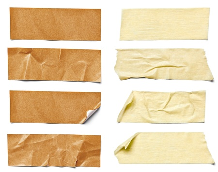 masking: collection of  various adhesive tape pieces on  white background  each one is shot separately