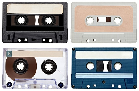collection of various vintage audio tapes on white background  each one is shot separately photo