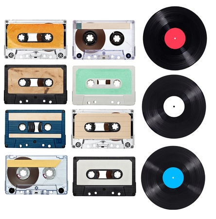 vinyl records: collection of various vintage audio tapes and vynil on white background  each one is shot separately Stock Photo