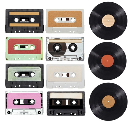 cassettes: collection of various vintage audio tapes and vynil on white background  each one is shot separately Stock Photo