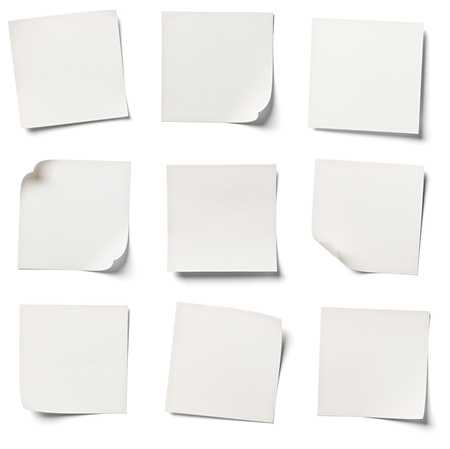 it is isolated: collection of  various white note papers on white background  each one is shot separately Stock Photo