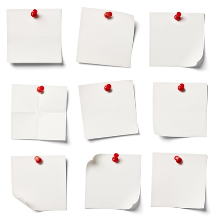 separately: collection of  various white note papers on white background  each one is shot separately Stock Photo