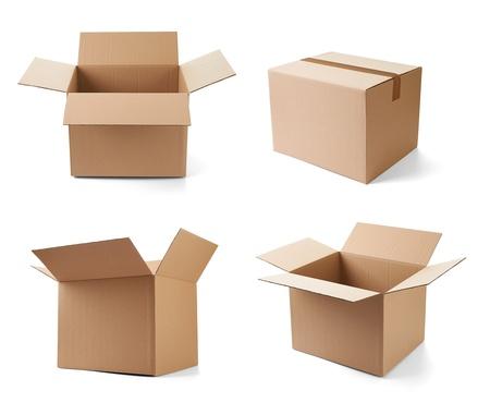 boite carton: collection de diverses bo�tes en carton sur fond blanc. chacun est tir� s�par�ment