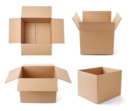carton: colección de varias cajas de cartón en el fondo blanco. cada uno es disparado por separado Foto de archivo