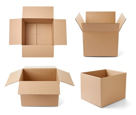 moving crate: collection of various cardboard boxes on white background. each one is shot separately