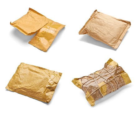 collection of various used open mail package on white background. each one is shot separately Stock Photo - 19314097