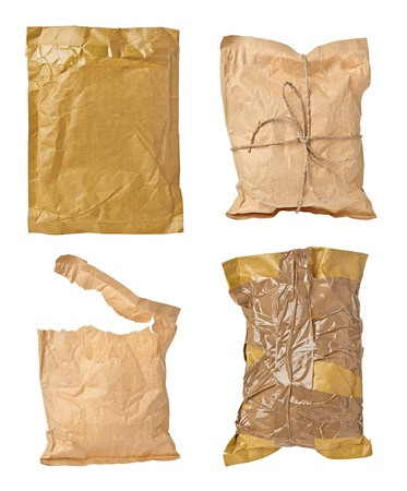 collection of various used open mail package on white background. each one is shot separately photo