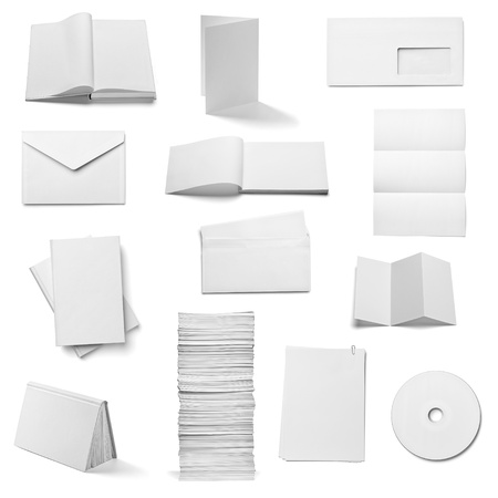 brand identity: collection of various  blank white paper and book on white background  each one is shot separately