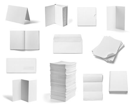 pile up: collection of various  blank white paper and book on white background  each one is shot separately