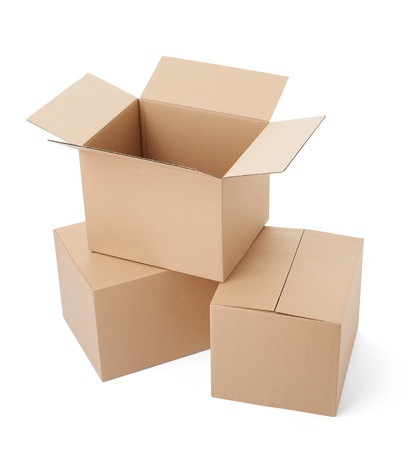 packer: close up of a cardboard box on white background