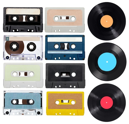 collection of various vintage audio tapes and vynil on white background  each one is shot separately photo