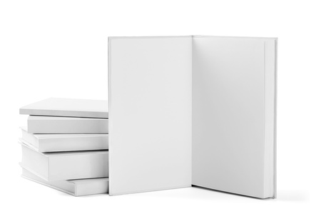 collection of various  blank white  books on white background with clipping path Stock Photo - 19836375