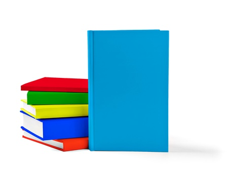 collection of various  colorful  books on white background with clipping path photo