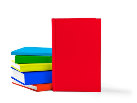 collection of various  colorful  books on white background with clipping path Stock Photo - 19836457