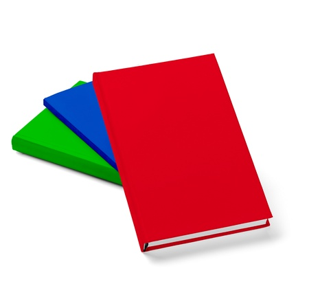 collection of various  colorful  books on white background with clipping path Stock Photo - 19836400