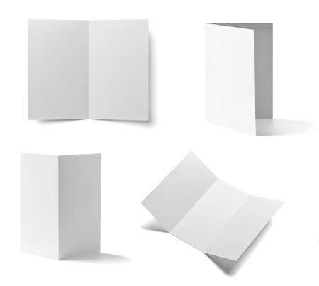 pamphlet: collection of various  blank folded leaflet white paper on white background. each one is shot separately