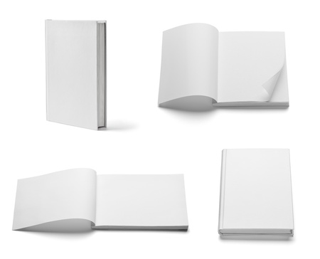 magazine page: collection of various  blank white  books on white background. each one is shot separately