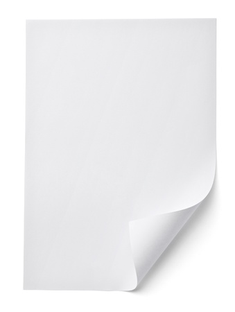 blank white paper on white background with clipping path photo
