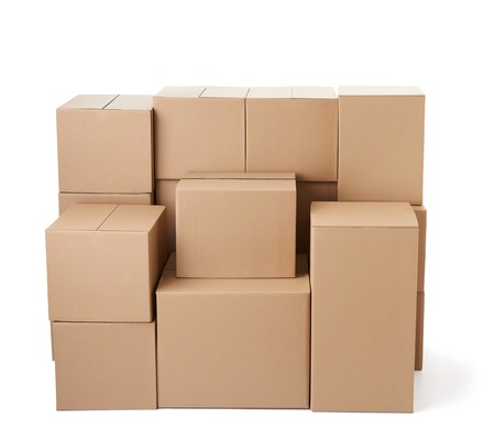 close up of a stack of cardboard boxes on white background Stock Photo - 19836351