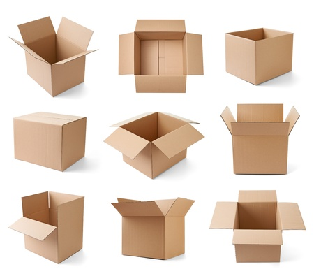 packaging move: collection of various cardboard boxes on white background  each one is shot separately