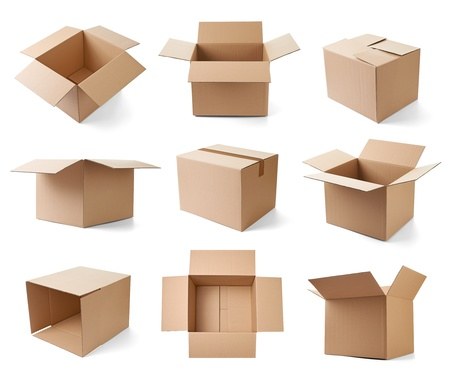 ship package: collection of various cardboard boxes on white background  each one is shot separately