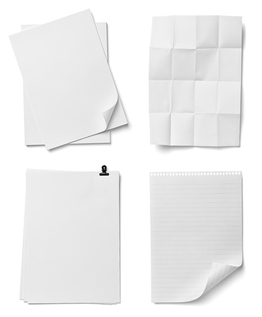 collection of various  papers  on white background  each one is shot separately photo