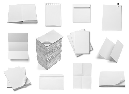 separately: collection of various  blank white paper and book on white background. each one is shot separately Stock Photo