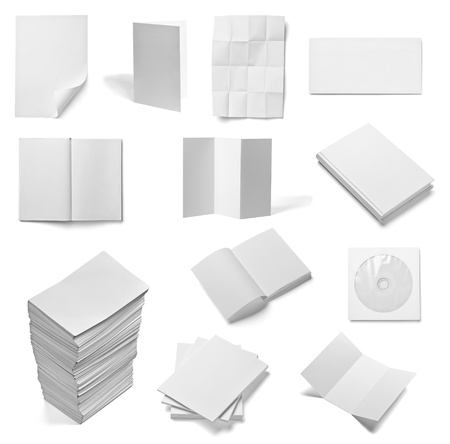 collection of various  blank white paper and book on white background. each one is shot separately photo