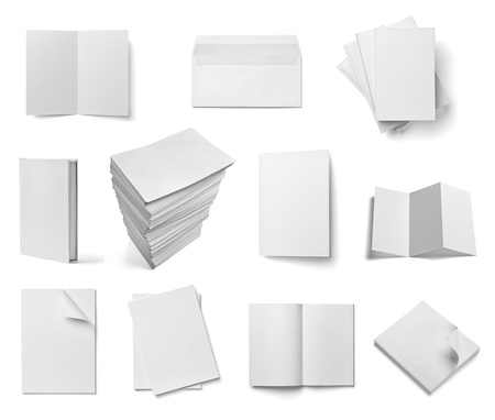 workpiece: collection of various  blank white paper and book on white background. each one is shot separately Stock Photo