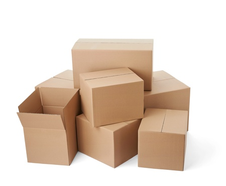corrugated box: close up of a stack of cardboard boxes on white background