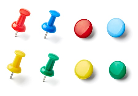 collection of various pushpins on white background photo