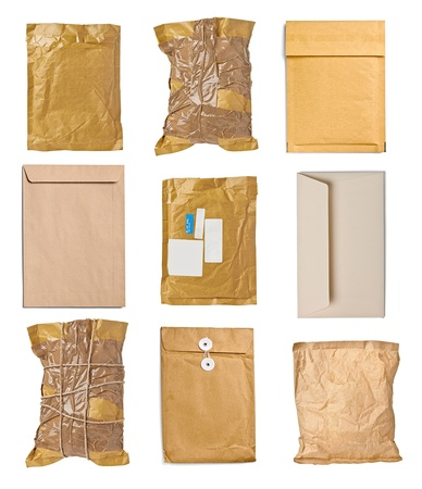 collection of various used open mail package on white background. each one is shot separately Stock Photo - 20333410