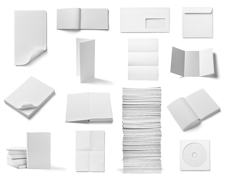 z fold: collection of various  blank white paper and book on white background  each one is shot separately
