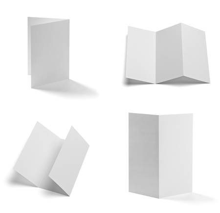 z fold: collection of various  blank folded leaflet white paper on white background  each one is shot separately