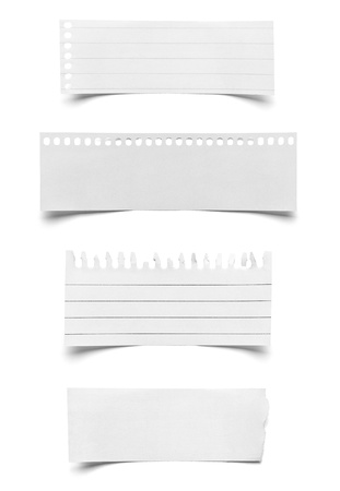 it background: collection of various pieces of note paper on white background  each one is shot separately
