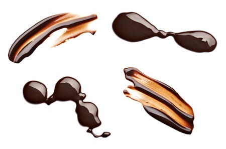 chocolate drop: collection of  various chocolate stains on white background