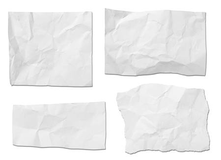 collection of  white ripped pieces of paper on white background  each one is shot separately Stock Photo - 21156498