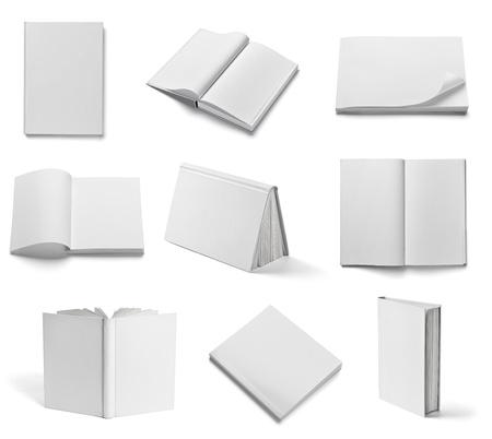 libros abiertos: colecci?n de diferentes libros blancos en blanco sobre fondo blanco cada uno es disparado por separado Foto de archivo