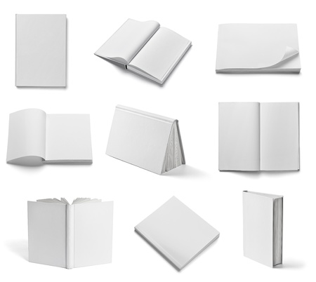 cover pages: collection of various  blank white  books on white background  each one is shot separately Stock Photo
