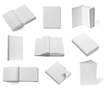 leaflet: collection of various  blank white  books on white background  each one is shot separately Stock Photo