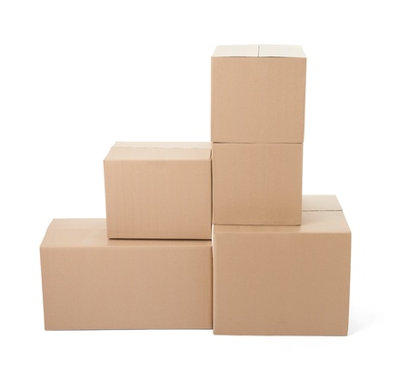 close up of a stack of cardboard boxes on white background Stock Photo - 21336620