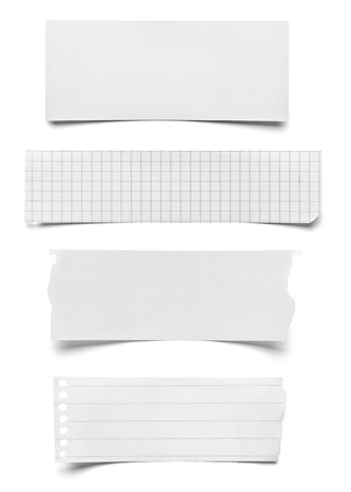 torned: collection of various pieces of note paper on white background  each one is shot separately