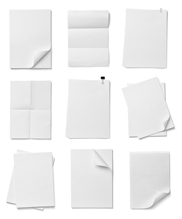 close up of stack of papers on white background  photo