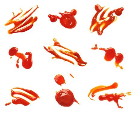 salsa de tomate: colecci?n de varias manchas de salsa de tomate en el fondo blanco