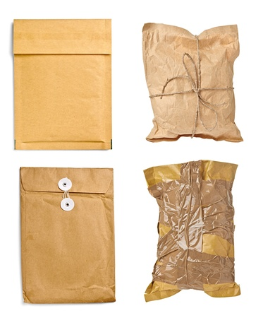 collection of various used open mail package on white background  each one is shot separately photo
