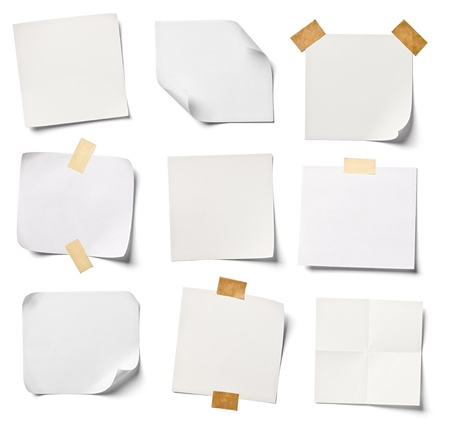 collection of  various white note papers on white background  each one is shot separately Imagens