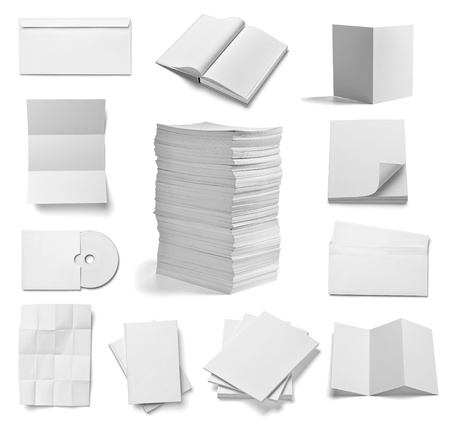 collection of various  blank white paper and book on white background  each one is shot separately photo